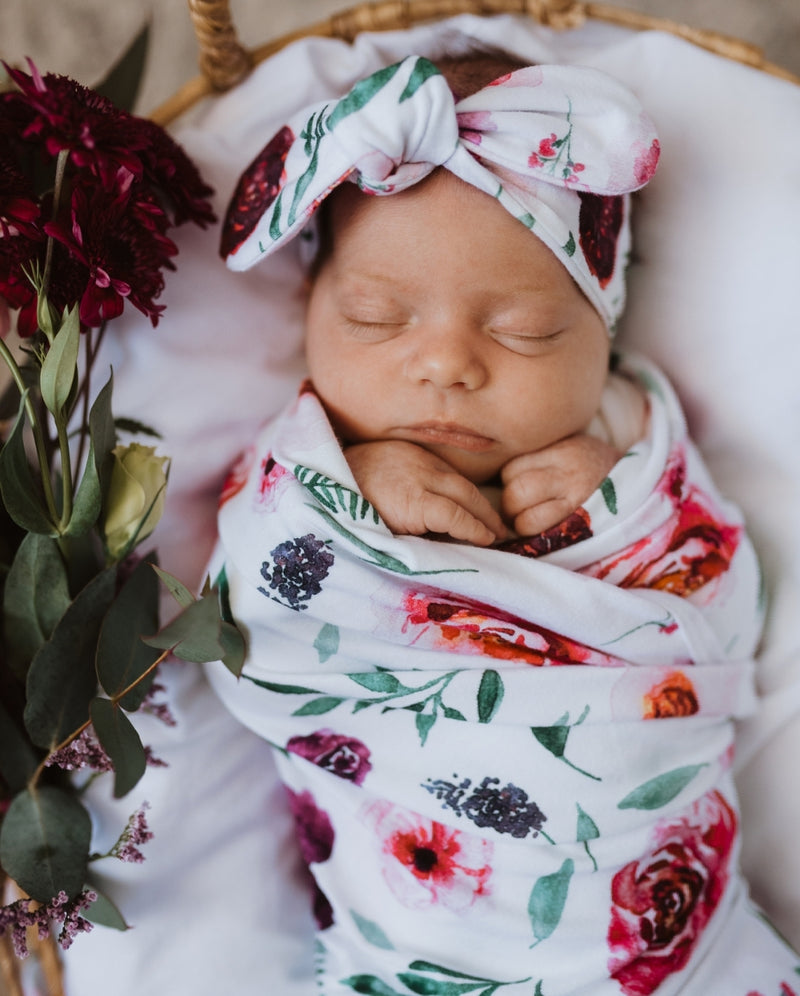 Baby Jersey Wrap & Topknot Set - Peony Bloom