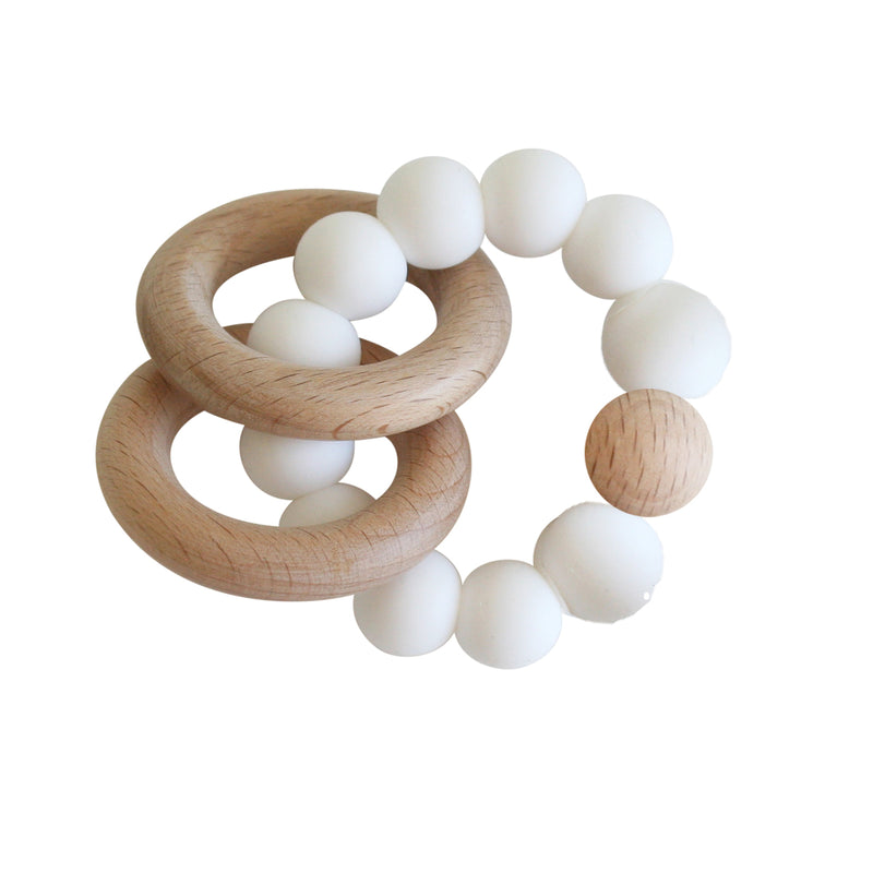 BEECHWOOD TEETHER RINGS SET - MILK