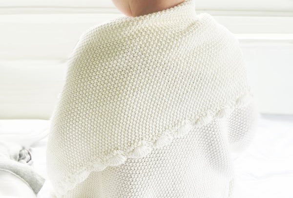 KNIT MINI MOSS STITCH BLANKET 100% ORGANIC COTTON - IVORY