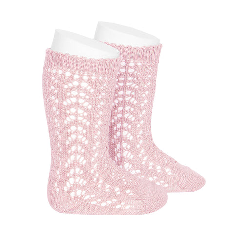 CÓNDOR Openwork Lace Knee High Socks - Baby Pink