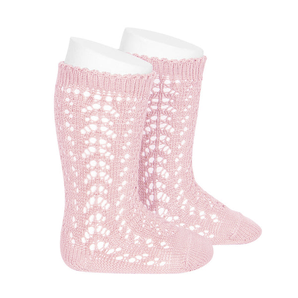 CONDOR Openwork Lace Knee High Socks - Baby Pink