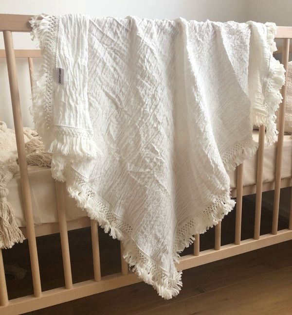 Cream double gauze swaddle with cream fringe
