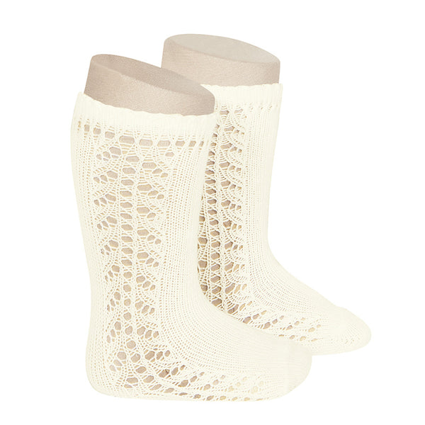 CONDOR Side Openwork Lace Knee High Socks - Beige
