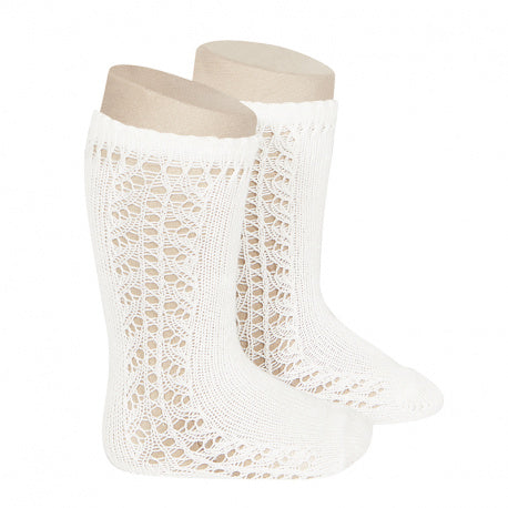 CÓNDOR Side Openwork Lace Knee High Socks - Cream