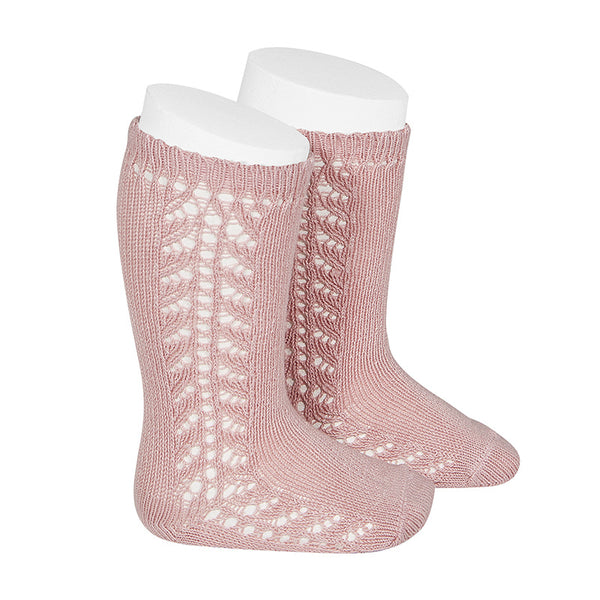 CONDOR Side Openwork Lace Knee High Socks - Dusty Pink