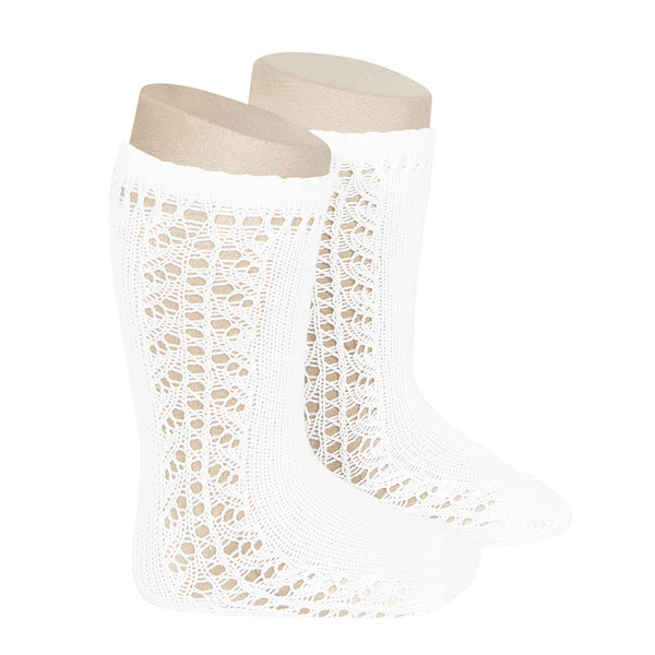CONDOR Side Openwork Lace Knee High Socks - White