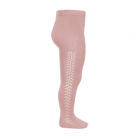 CONDOR Side Openwork Lace Tights - Dusty Pink
