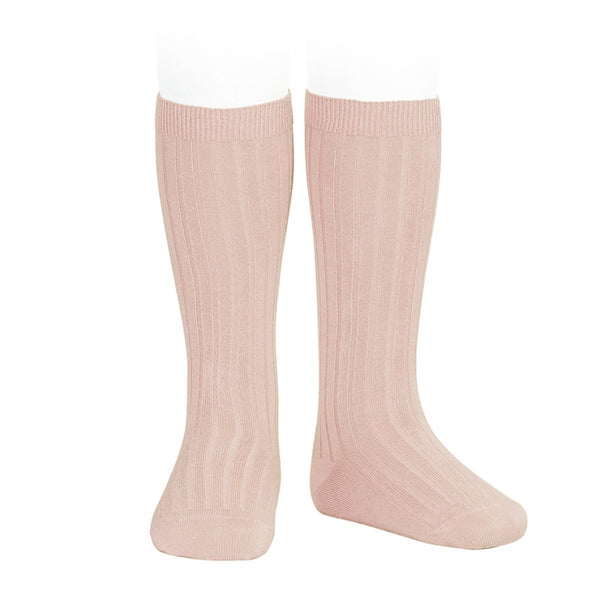 CONDOR RIB KNEE HIGH SOCKS - OLD ROSE