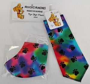 Tye Dye Paws HOOMAN 'MUZZLE'  and PUP SCARF COMBO