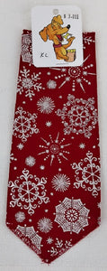 Bandana - Silver Snowflake on Red