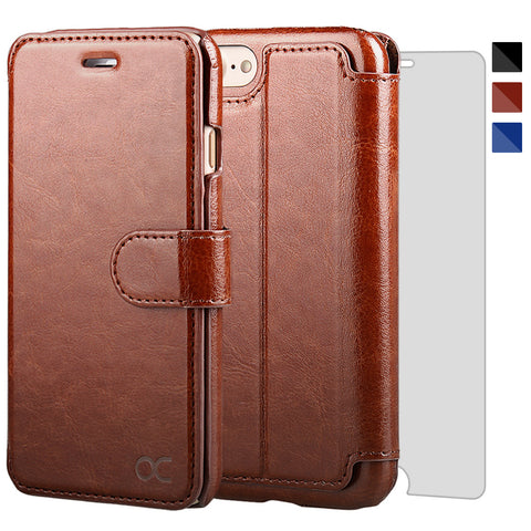 TANNC iPhone 8 Wallet Case, iPhone 7 Case, [Screen Protector Included] [Layered Dandy] Flip Leather Phone Case [Kickstand] [Card Slot] [Precise Cut-out] – Case for Apple iPhone 8 and iPhone 7 – Brown