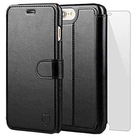 TANNC iPhone 8 Plus Wallet Case, iPhone 7 Plus Case, Flip Leather Phone Case [Screen Protector Included] [Layered Dandy] [Card Slot] [Kickstand] - for iPhone 8 Plus and iPhone 7 Plus - Black