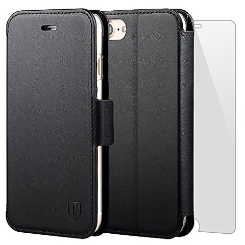 TANNC iPhone 8 Wallet Case, iPhone 7 Case, Flip Leather Phone Case [Screen Protector Included] [Card Slot] [Kickstand] - for iPhone 8 and iPhone 7 - Black