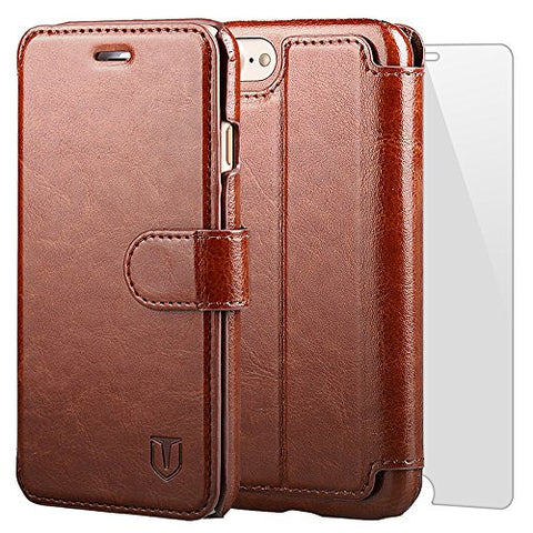 TANNC iPhone 8 Wallet Case, iPhone 7 Case, Flip Leather Phone Case [Screen Protector Included] [Card Slot] [Kickstand] - for iPhone 8 and iPhone 7 - Brown