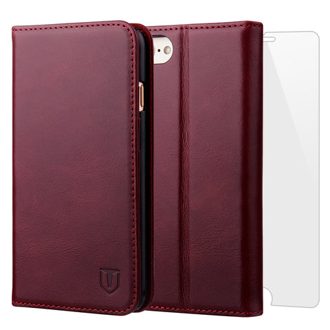 TANNC iPhone 8 Leather Case, iPhone 7 Case, Genuine Leather [Screen Protector Included] Flip Wallet Phone Case [Kickstand] [Card Slot] - Case for Apple iPhone 8 and iPhone 7 - Burgundy