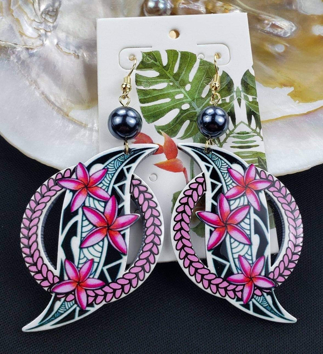 Transparent Laser-Etched Light Weight Acrylic Earrings S Polynesian Tribal
