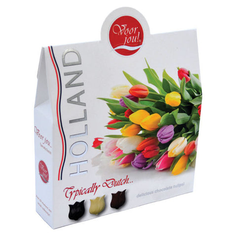 "Typical Dutch ""Voor Jou"" Chocolate Tulips (red)"