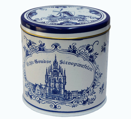 Verweij stroopwafel 8 pcs 100% butter in Delft Blue Tin