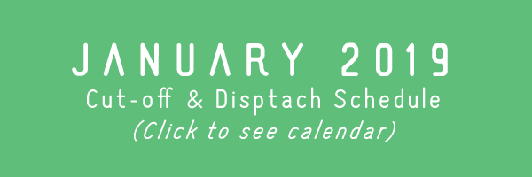 TRC January 2019 Cut-off & Dispatch Schedule