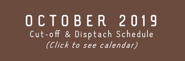 TRC October 2019 Cut-off & Dispatch Schedule
