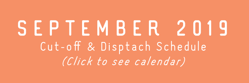 TRC September 2019 Cut-off & Dispatch Schedule