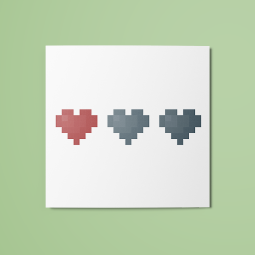 1/3 Pixel Hearts (Colored) Temporary Tattoo