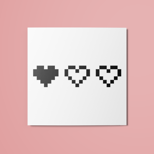 1/3 Pixel Hearts Temporary Tattoo