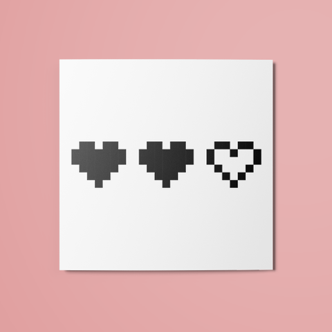 2/3 Pixel Hearts Temporary Tattoo