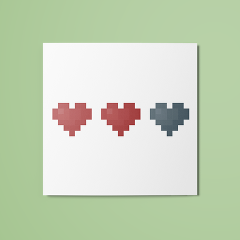 2/3 Pixel Hearts (Colored) Temporary Tattoo
