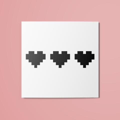 3/3 Pixel Hearts Temporary Tattoo