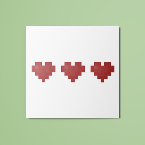 3/3 Pixel Hearts (Colored) Temporary Tattoo