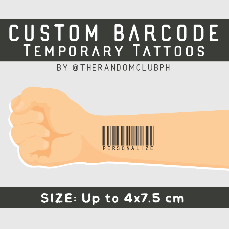 Custom Barcode Temporary Tattoo