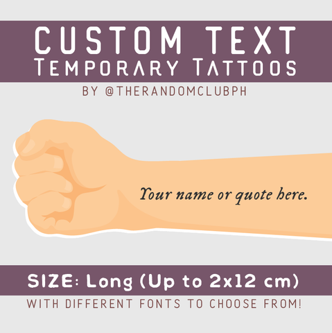Custom Text Temporary Tattoo (Long)