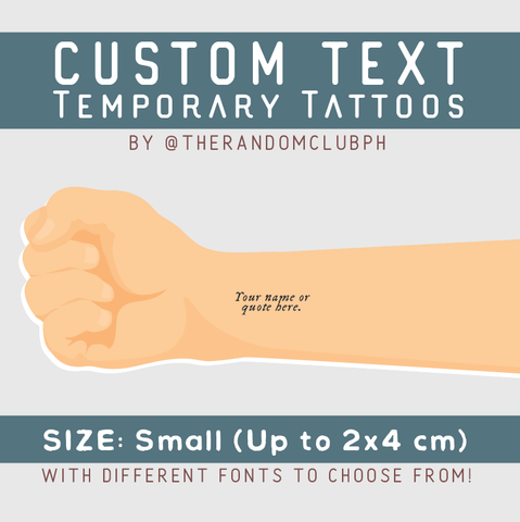 Custom Text Temporary Tattoo (Small)