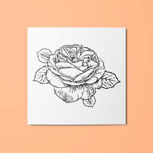 Flower Line Art Temporary Tattoo
