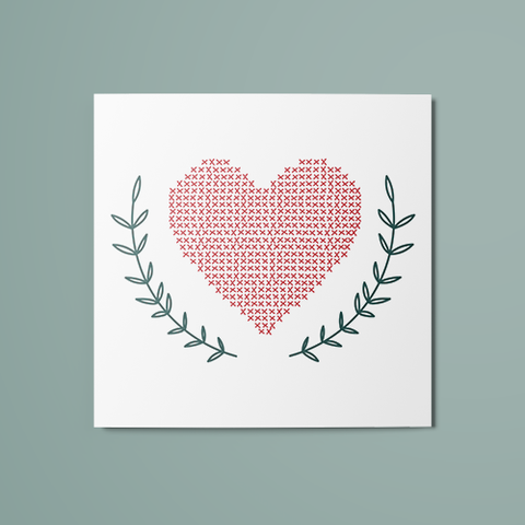 Cross Stitch Heart Temporary Tattoo