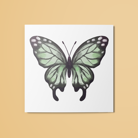 Light Green Butterfly Temporary Tattoo
