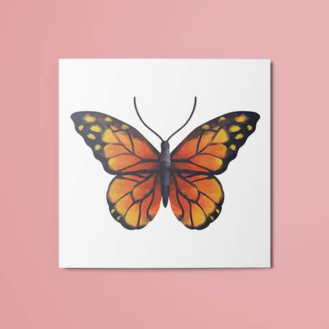 Orange Butterfly Temporary Tattoo