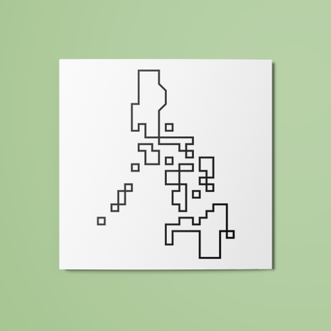 Pixel Philippine Map (Outline) Temporary Tattoo