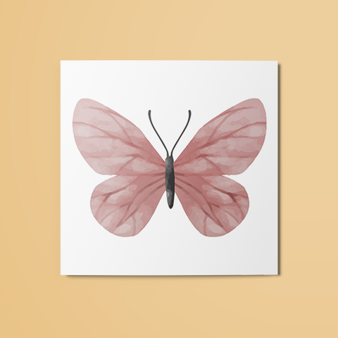 Pink Moth Temporary Tattoo