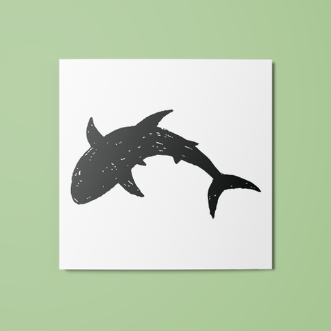 Shark Silhouette Temporary Tattoo