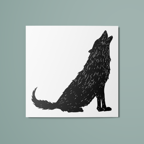 Wolf Silhouette Temporary Tattoo