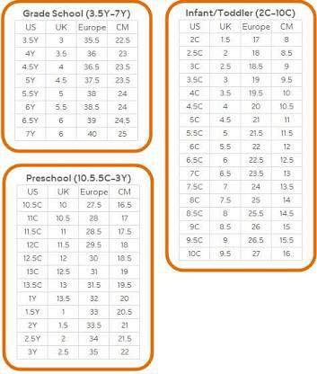 Nike Infant/Toddler/Pre-School Size Chart