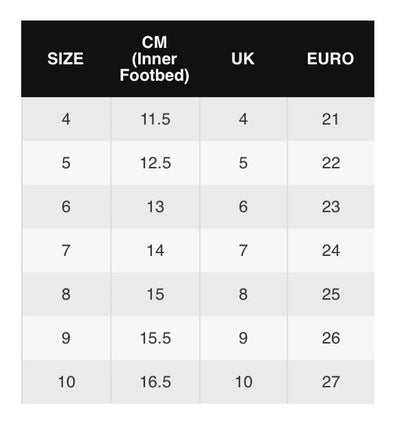 Converse Infant/Toddler Size Chart