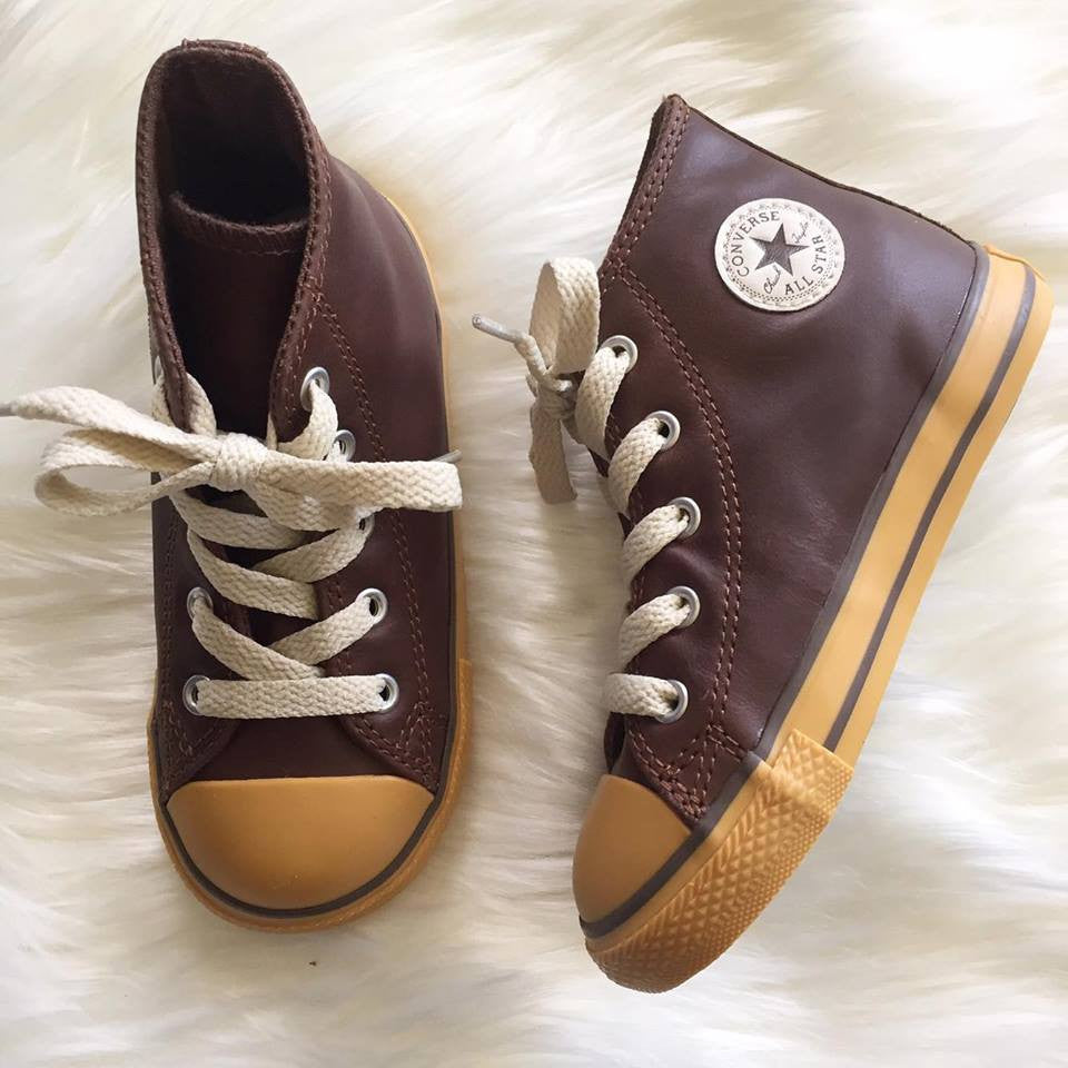 CONVERSE Toddler Lace-up Brown/Gum Leather READY TO SHIP