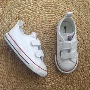 CONVERSE Toddler White Leather Velcro