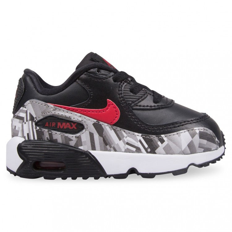 NIKE Toddler Air Max 90 - Black/Red/Print READY TO SHIP