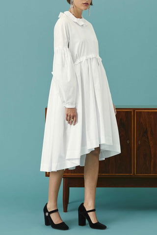 Dropped Hem Poplin Dress