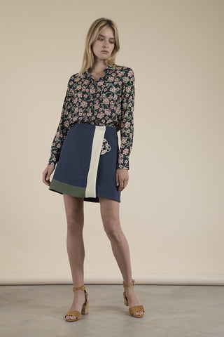 Mable Paneled Wrap Mini Skirt