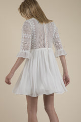 Guipure Lace and Chiffon Dress